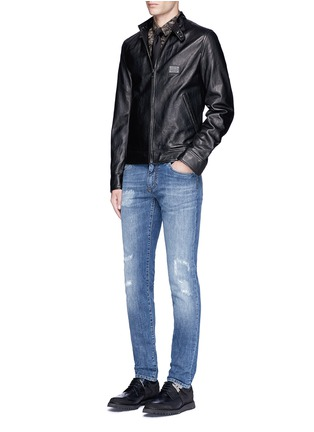 Figure View - Click To Enlarge - Dolce & Gabbana - Leather racer jacket