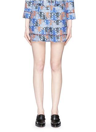 Main View - Click To Enlarge - Emilio Pucci - Monogram print silk pyjama shorts
