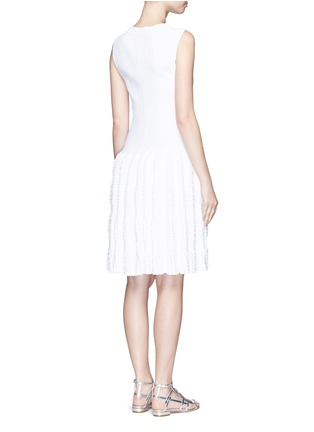 Back View - Click To Enlarge - Alaïa - 'Marquises' tiered ruffle trim dot jacquard dress