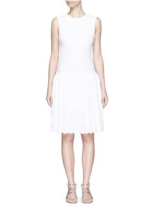 Main View - Click To Enlarge - Alaïa - 'Marquises' tiered ruffle trim dot jacquard dress