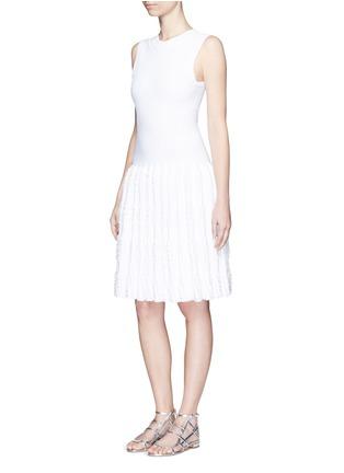 Figure View - Click To Enlarge - Alaïa - 'Marquises' tiered ruffle trim dot jacquard dress