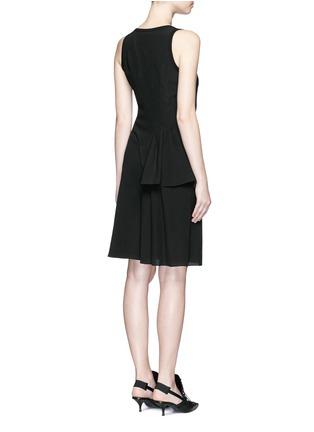 Back View - Click To Enlarge - Givenchy Beauty - Rib knit trim asymmetric pleat silk dress