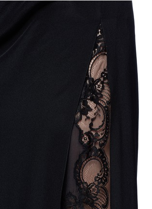 Detail View - Click To Enlarge - GIVENCHY - Ruche one-sleeve lace insert silk gown