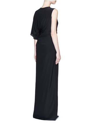 Back View - Click To Enlarge - GIVENCHY - Ruche one-sleeve lace insert silk gown