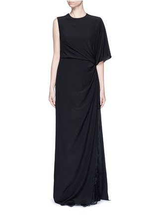 Main View - Click To Enlarge - GIVENCHY - Ruche one-sleeve lace insert silk gown