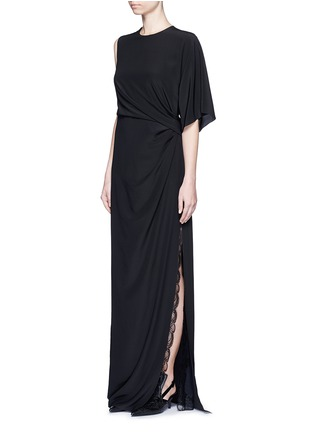 Figure View - Click To Enlarge - GIVENCHY - Ruche one-sleeve lace insert silk gown