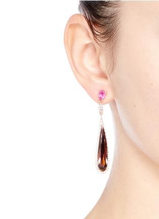 Figure View - Click To Enlarge - Anabela Chan - 'Shard' diamond pavé tourmaline drop earrings