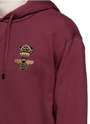 Detail View - Click To Enlarge - Dolce & Gabbana - Crown and bee embroidery hoodie