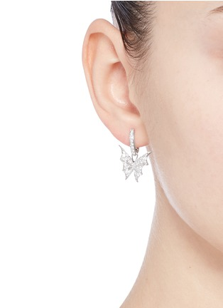 Figure View - Click To Enlarge - Stephen Webster - 'Fly By Night' diamond 18k white gold batmoth earrings