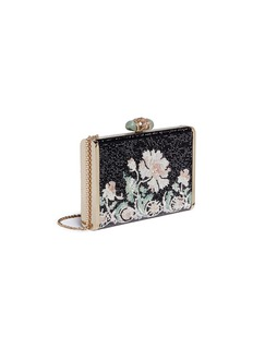 Judith Leiber 'Tall Slender Rectangle' floral crystal pavé minaudière