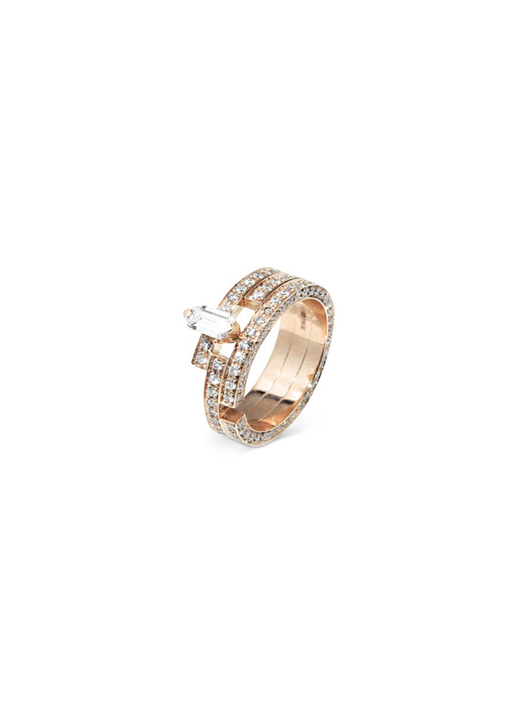 'Disruptive' pavé diamond 18k rose gold three tier ring