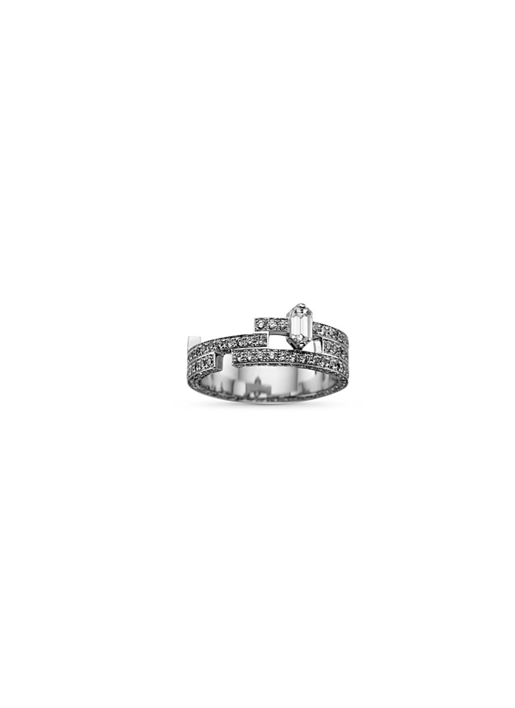 'Disruptive' pavé diamond 18k white gold three tier ring