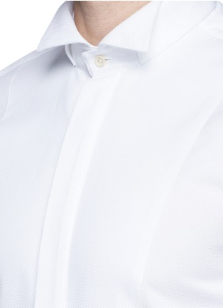 Detail View - Click To Enlarge - LARDINI - Slim fit wingtip collar cotton piqué tuxedo shirt