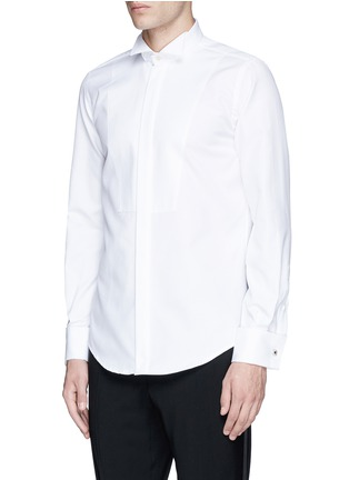 Front View - Click To Enlarge - LARDINI - Slim fit wingtip collar cotton piqué tuxedo shirt