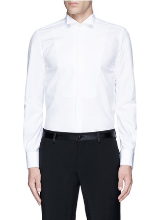 Main View - Click To Enlarge - LARDINI - Slim fit wingtip collar cotton piqué tuxedo shirt