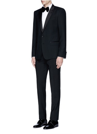 Figure View - Click To Enlarge - LARDINI - Slim fit wingtip collar cotton piqué tuxedo shirt