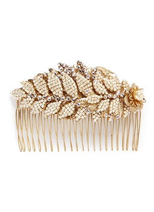 Main View - Click To Enlarge - MIRIAM HASKELL - Baroque pearl layered leaf hair comb