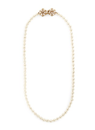 Main View - Click To Enlarge - Miriam Haskell - Filigree floral clasp Baroque pearl necklace