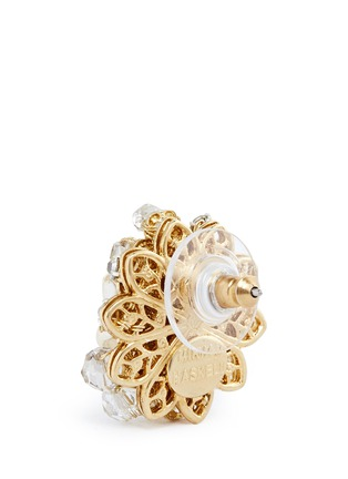 Detail View - Click To Enlarge - MIRIAM HASKELL - Layered filigree floral pearl crystal stud earrings
