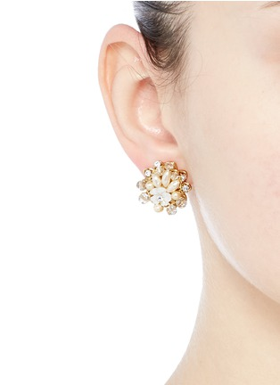 Figure View - Click To Enlarge - MIRIAM HASKELL - Layered filigree floral pearl crystal stud earrings