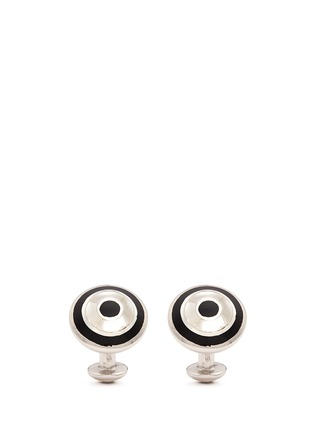 Main View - Click To Enlarge - Babette Wasserman - 'Archie' onyx and abalone shell inlay cufflinks