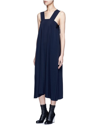 Front View - Click To Enlarge - Helmut Lang - Side tie crepe midi dress
