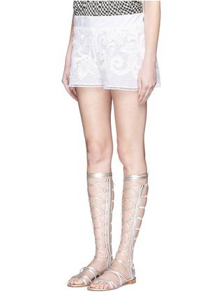 Front View - Click To Enlarge - Lila.Eugenie - Macramé lace shorts