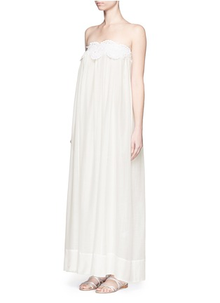 Front View - Click To Enlarge - Lila.Eugenie - Macramé lace cotton-silk maxi dress