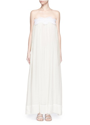 Main View - Click To Enlarge - Lila.Eugenie - Macramé lace cotton-silk maxi dress