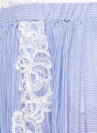 Detail View - Click To Enlarge - Lila.Eugenie - Lace trim pinstripe cotton-silk maxi skirt