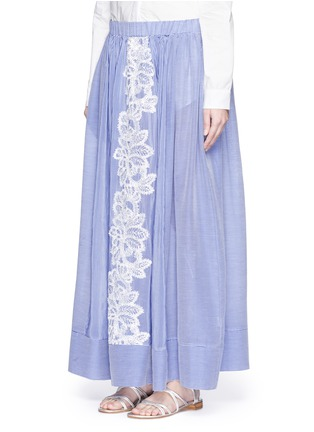 Front View - Click To Enlarge - Lila.Eugenie - Lace trim pinstripe cotton-silk maxi skirt