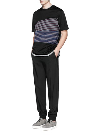 Figure View - Click To Enlarge - Lanvin - Stripe panel T-shirt