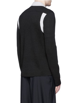 Back View - Click To Enlarge - Lanvin - Contrast panel wool-silk cardigan