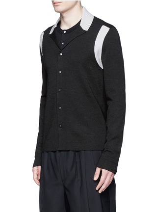 Front View - Click To Enlarge - Lanvin - Contrast panel wool-silk cardigan