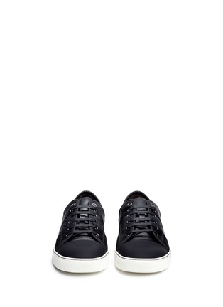 Front View - Click To Enlarge - Lanvin - Panelled mix leather suede sneakers