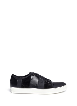 Main View - Click To Enlarge - Lanvin - Panelled mix leather suede sneakers