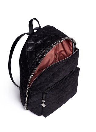 Detail View - Click To Enlarge - Stella McCartney - 'Falabella' quilted shaggy deer chain backpack