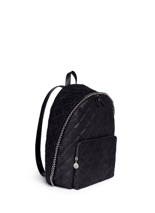 Front View - Click To Enlarge - Stella McCartney - 'Falabella' quilted shaggy deer chain backpack