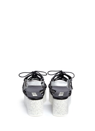 Back View - Click To Enlarge - Stella McCartney - 'Lucy' marble effect platform metallic sandals