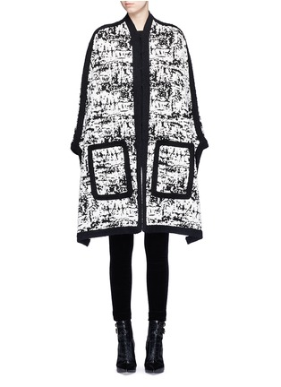 Main View - Click To Enlarge - Alexander McQueen - Camouflage intarsia knit cape jacket