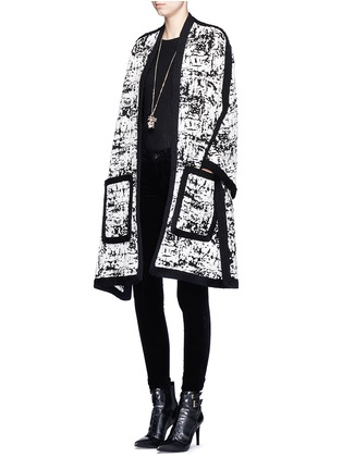 Figure View - Click To Enlarge - Alexander McQueen - Camouflage intarsia knit cape jacket