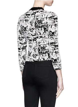 Back View - Click To Enlarge - Alexander McQueen - Camouflage strip intarsia cropped bouclé sweater