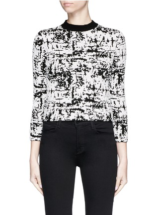 Main View - Click To Enlarge - Alexander McQueen - Camouflage strip intarsia cropped bouclé sweater