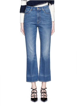 Detail View - Click To Enlarge - Alexander McQueen - Vintage wash cropped flare jeans