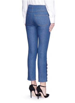 Back View - Click To Enlarge - Alexander McQueen - Lace-up hem cropped kick flare jeans