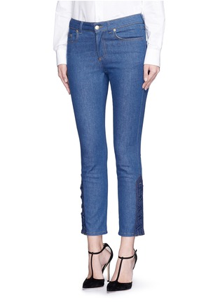 Front View - Click To Enlarge - Alexander McQueen - Lace-up hem cropped kick flare jeans
