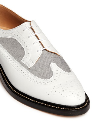 Detail View - Click To Enlarge - Thom Browne - Oxford fabric insert leather longwing Derbies