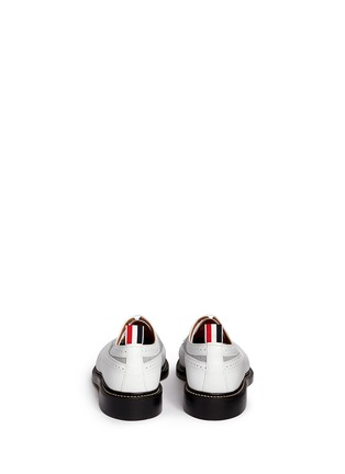 Back View - Click To Enlarge - Thom Browne - Oxford fabric insert leather longwing Derbies