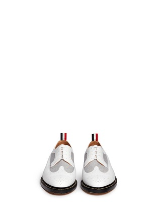 Front View - Click To Enlarge - Thom Browne - Oxford fabric insert leather longwing Derbies