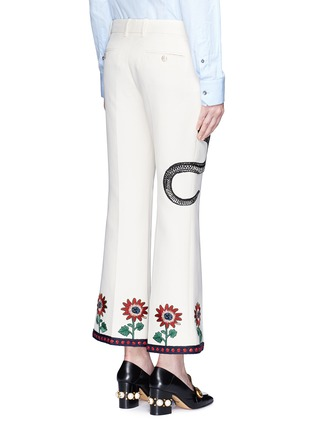 Back View - Click To Enlarge - GUCCI - Crochet trim embroidered flared cady pants
